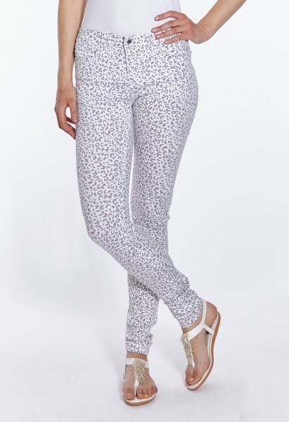 Wonderjeans Skinny L37 Inch, white grey leo print