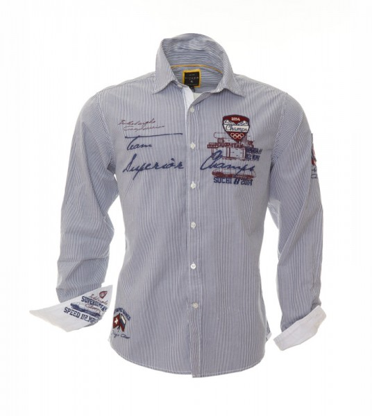Button down shirt Olympic Champs blue white striped