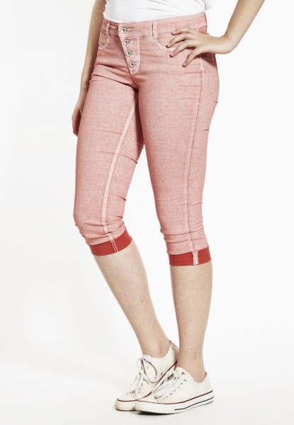 Kim turn-up Capri-Jeans Oil washed, coral