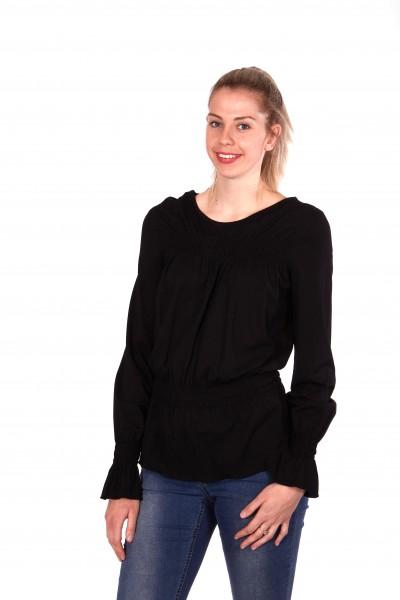 Smocked long sleeve shirt, black