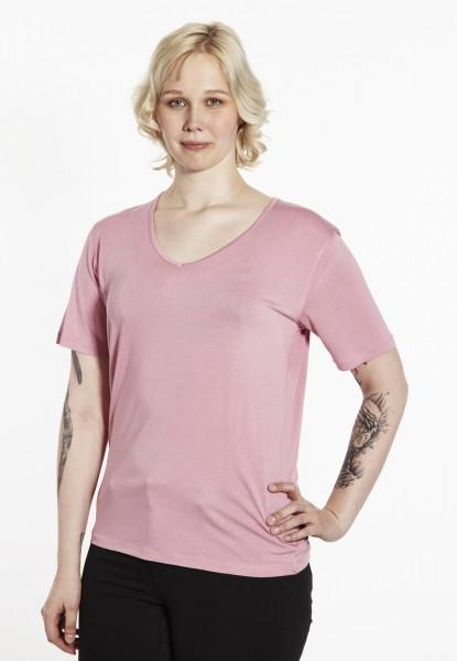 Viscose T-Shirt mit V-Ausschnitt, rosé