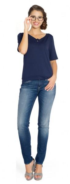 Kurzarm Shirt Saya, dunkelblau