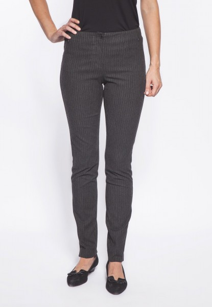 Jenny flannel slim trousers, anthracite with pinstripes
