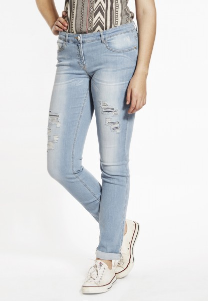 Paula Boyfriendstyle Jeans, distressed light blue