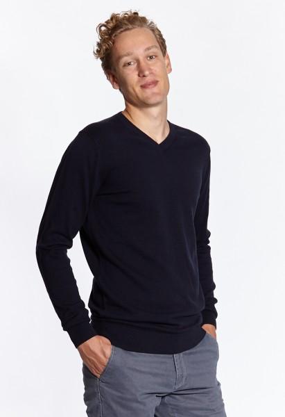 I LOVE TALL Langgrössen für Männer Feinstrickpullover dunkelblau navy vorne