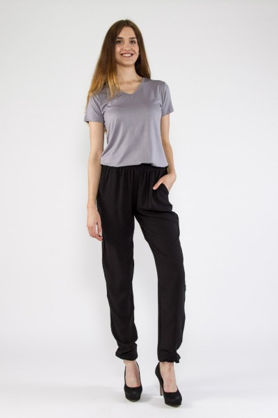 Shirt V-Ausschnitt Kurzarm, grau