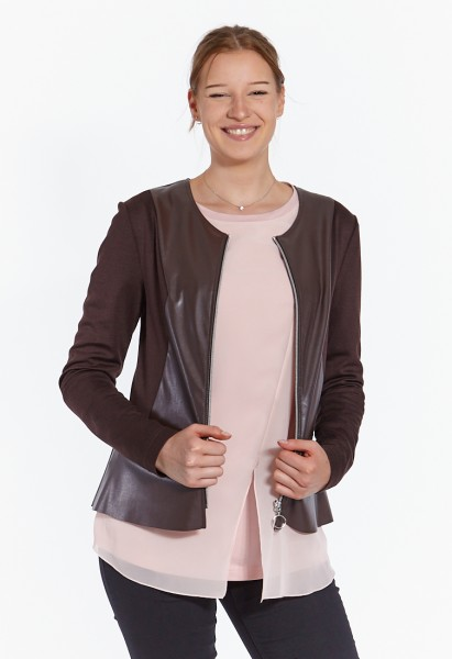 Short jacket in material mix