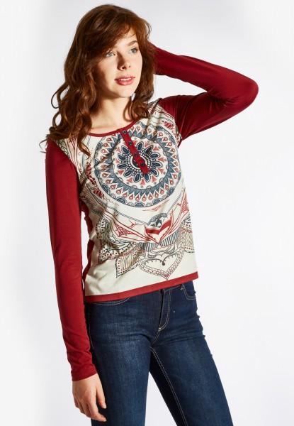 Langarm Shirt mit Mandala Print, tobasco
