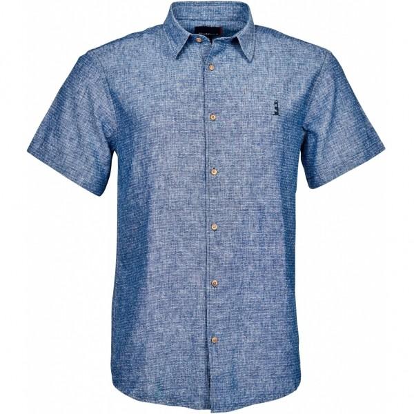 I LOVE TALL Leinenhemd kurzarm in Langgrösse, indigo blau