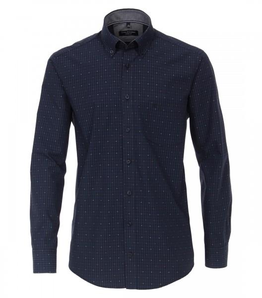 Long sleeve shirt casual fit 72 cm sleeve length, dark blue fine patterned