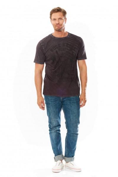 T-Shirt mit Print und oilwash, anthracite