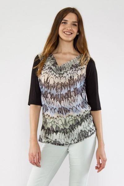 Shirt mit Wasserfallkragen, Print Pastell blau/grün