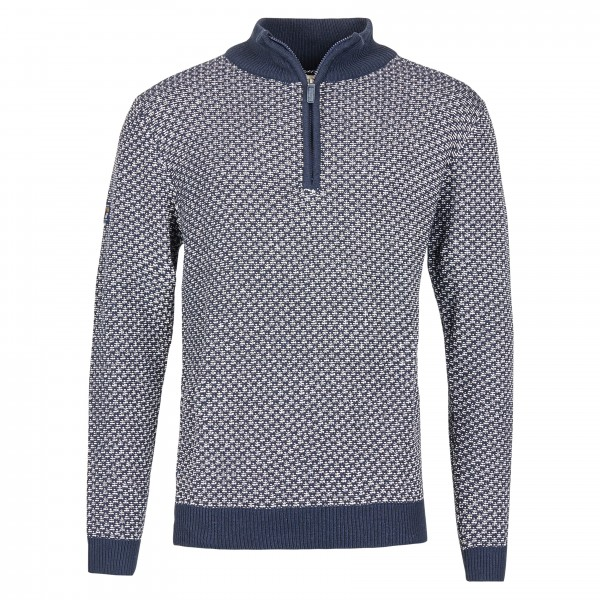Knitted jumper with zip, blue white