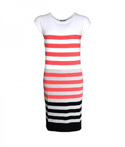 Strick Streifen-Kleid-Tunika, multi-weiss