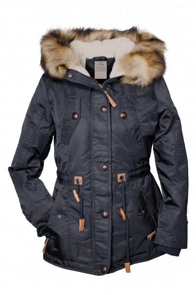 I LOVE TALL Brigg Damen Winterjacke mit Kapuze in Langgrösse, schwarz
