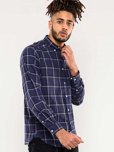 Townsville D555 long sleeve shirt, checkered navy blue
