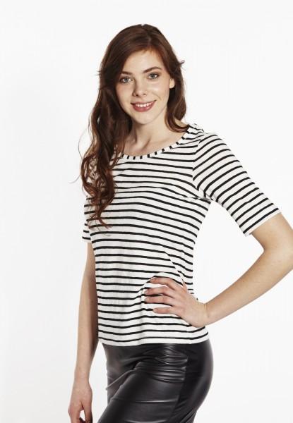 T-Shirt Leinenmix, schwarz/weiss gestreift