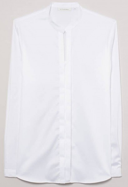 Eterna stand-up collar blouse slim fit, white