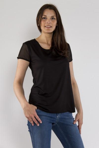 Shirt mit Chiffonarm, black