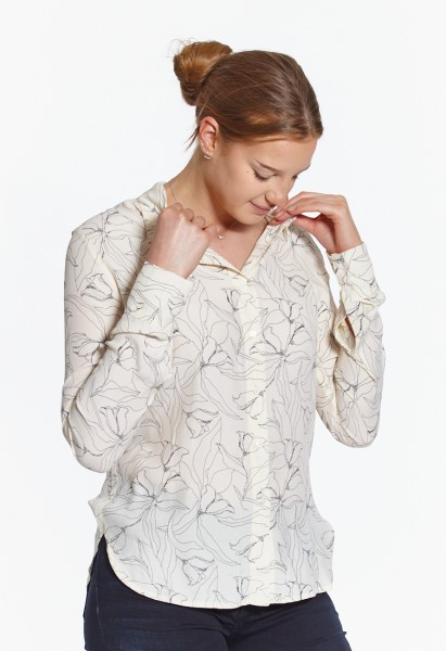 Blouse with print, offwhite