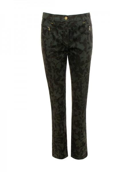Sandy pantalon avec impression des feuilles sur vert
