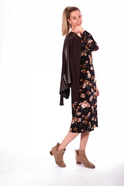 Midi Kleid mit Blumendruck, schwarz