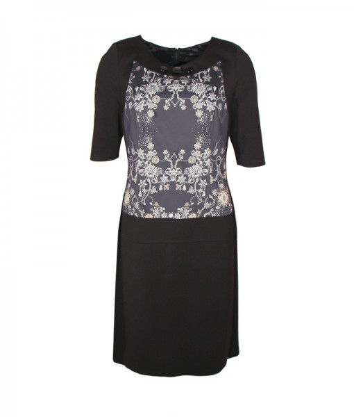 Kim Kleid mit Print, schwarz