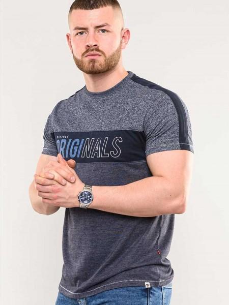 T-Shirt Anson D555 Originals Druck, denim blau méliert