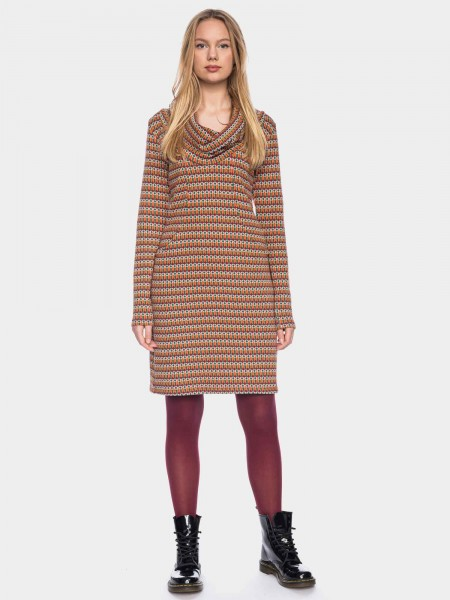 Long sleeve dress with waterfall collar organic cotton GOTS, aubergine orange