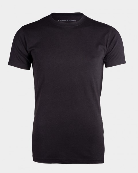 I LOVE TALL Langer Jung Bambusviskose T-Shirt extra lang Langgrösse schwarz Biobaumwolle