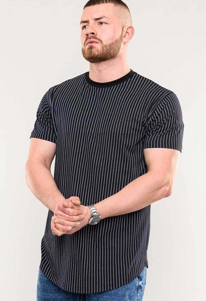 T-Shirt Stamford D555 black stripes and curved hem