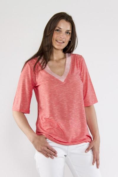 V-Shirt leicht Strick, koralle mit weiss