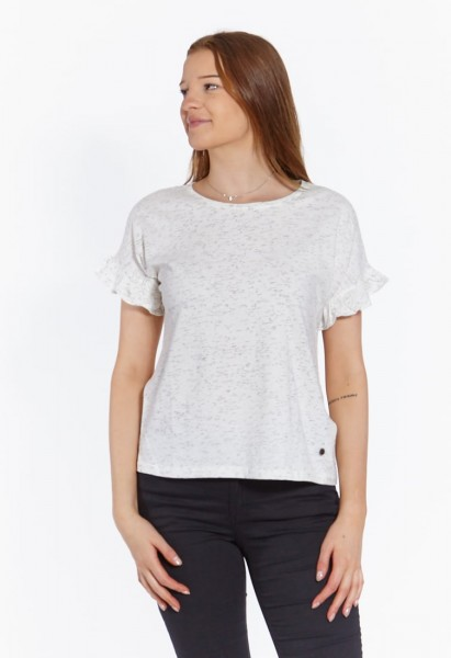 Oversized t-shirt with frills, white black speckled