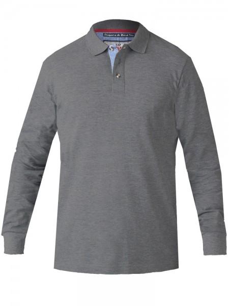 I LOVE TALL Poloshirt Langarm extra lang Ärmellänge 72 cm grau méliert