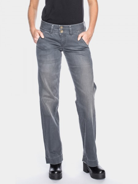 I LOVE TALL ATO Berlin Lilia Jeans Bootcut 38 Inch Innenbeinlänge, grau used (vorne)