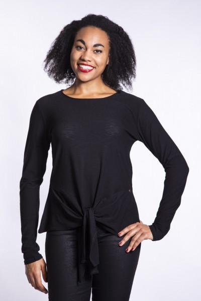 I LOVE TALL Langgrössen Mode für Frauen ab Körpergrösse 1,80m - Bluse geknotet in schwarz
