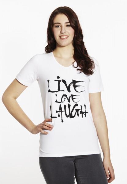 Basic T-Shirt V-Ausschnitt, weiss mit Print