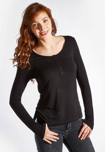 Anna Langarm Shirt mit Knopfleiste, black