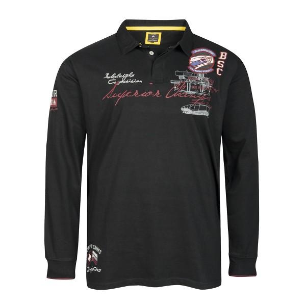 Langarm Polo Sweatshirt Olympia, schwarz