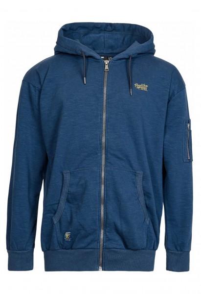 Warm hoodie jacket with fleece inside, navy blue