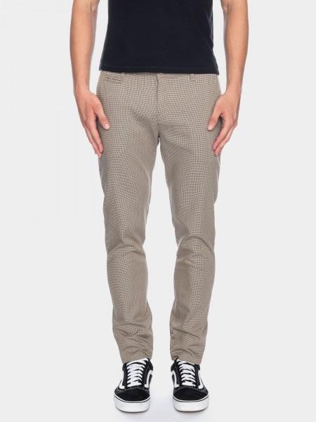 Dino pantalon style chino L38 pouces, brun à carreaux fin