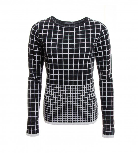Knit Sweater In Checked Pattern Black Grey Sweaters Tops