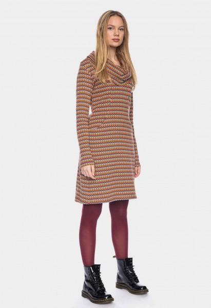 Long sleeve dress with waterfall collar organic cotton GOTS, aubergine orange