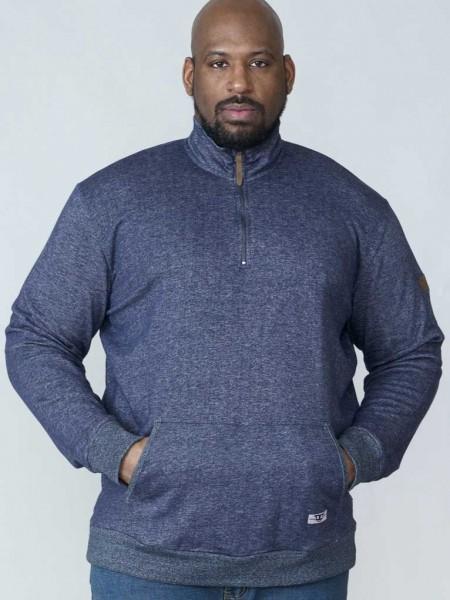 I LOVE TALL D555 DUKE Clothing Sweatshirt in Langgrösse mit hohem Kragen blau extra lange Ärmel