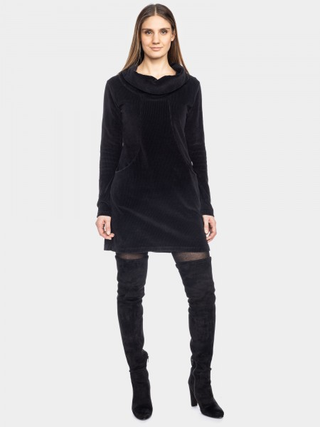 Robe urbaine tricoté velours de cordon, noire