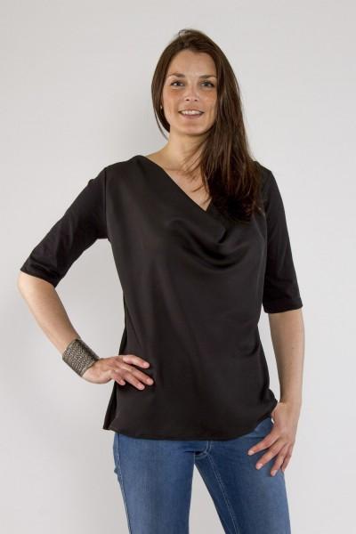 Shirt mit Wasserfallkragen, black