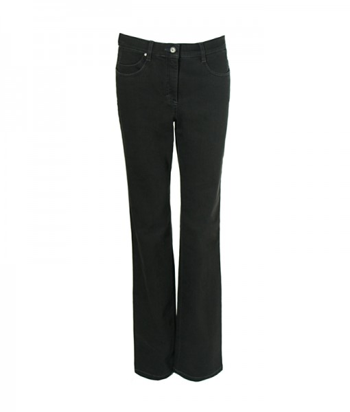 Sally Jeans mit weitem Bein, schwarz rinse