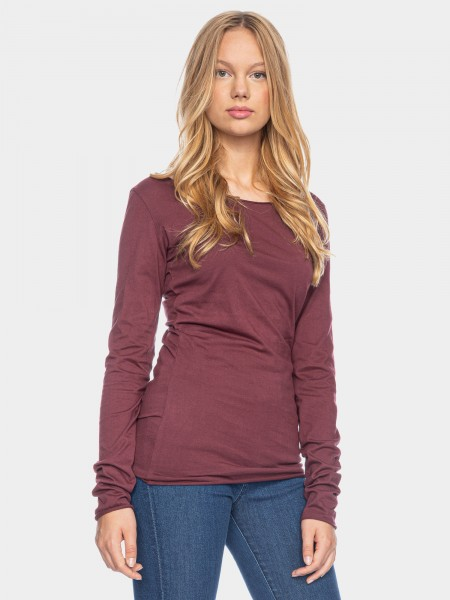 Organic Cotton Langarm Shirt Arista, aubergine