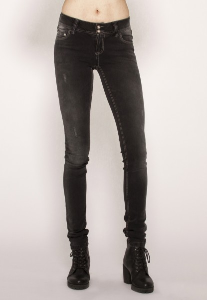 Alina Röhren Jeans, grau denim distressed