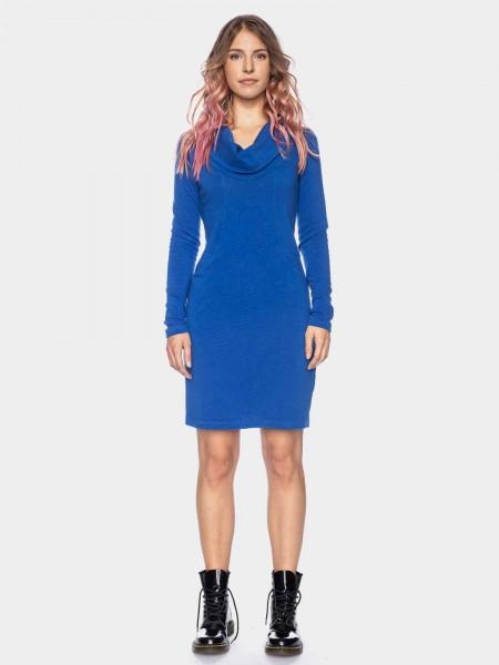 Long sleeve knit dress with waterfall collar organic cotton GOTS, blue